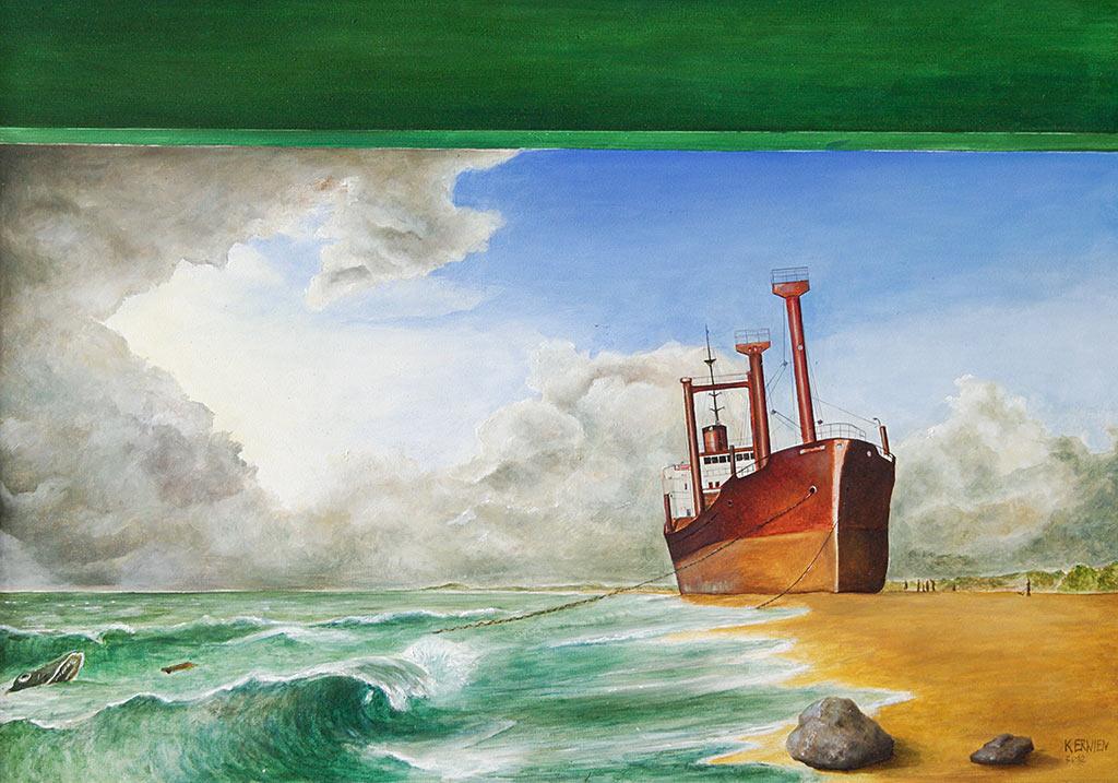 »Gestrandet«, Benjamin Kerwien, Öl auf Holz, 61 × 41 cm, 2012