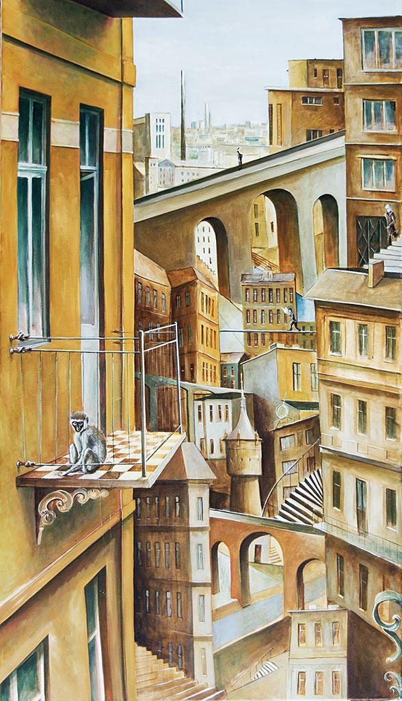 »Balkonblick«, Benjamin Kerwien, Öl auf Leinwand, 50 × 100 cm, 2012