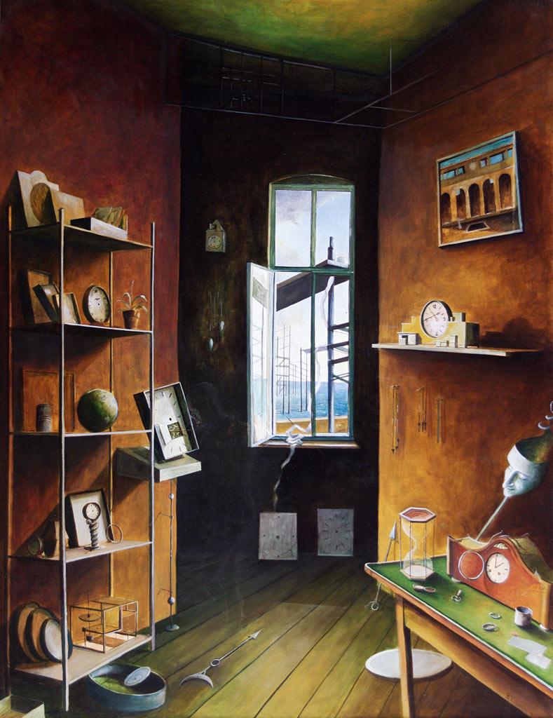 »Das Rätsel der Stunde«, Benjamin Kerwien, Öl auf Holz, 60 x 80 cm, 2011