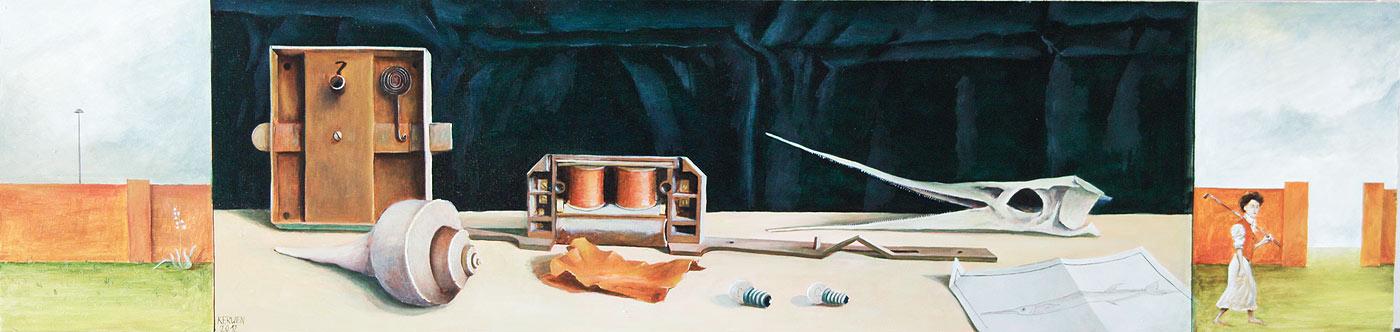 »Fundstücke«, Benjamin Kerwien, Öl auf Holz, 74 × 18 cm, 2012