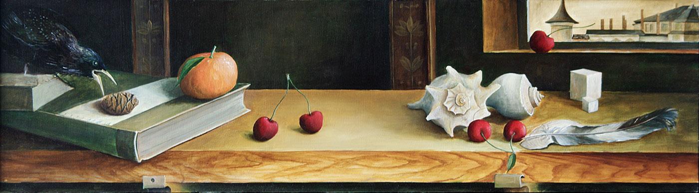»Star mit Kirschen«, Benjamin Kerwien, Öl auf Holz, 18 × 66 cm, 2011