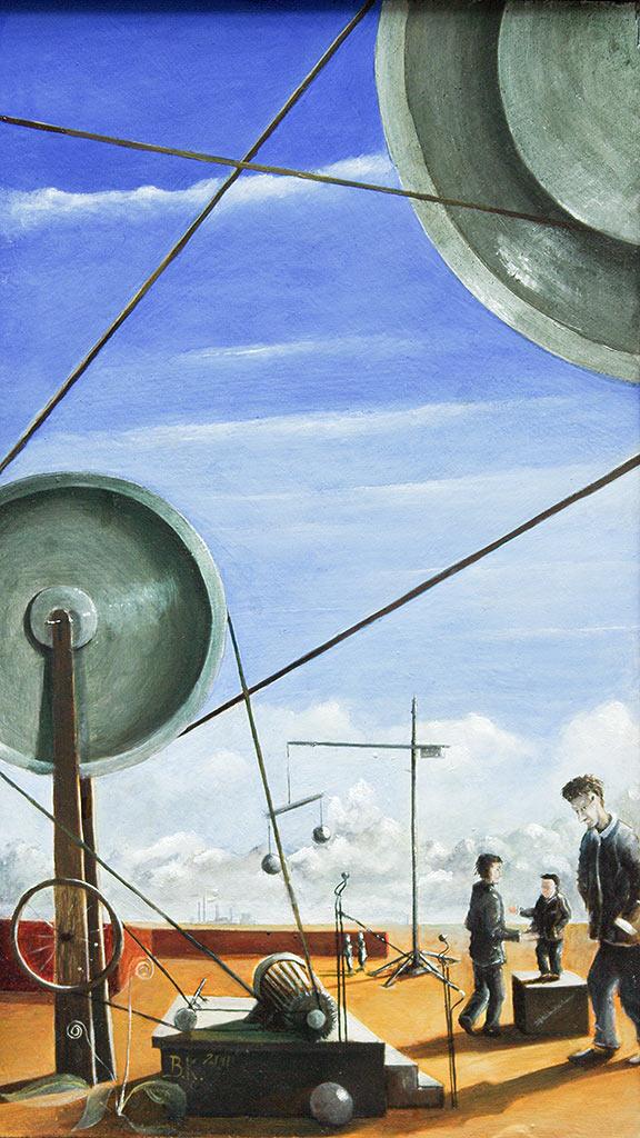 »Räderwerk«, Benjamin Kerwien, Öl auf Holz, 16 × 28 cm, 2011