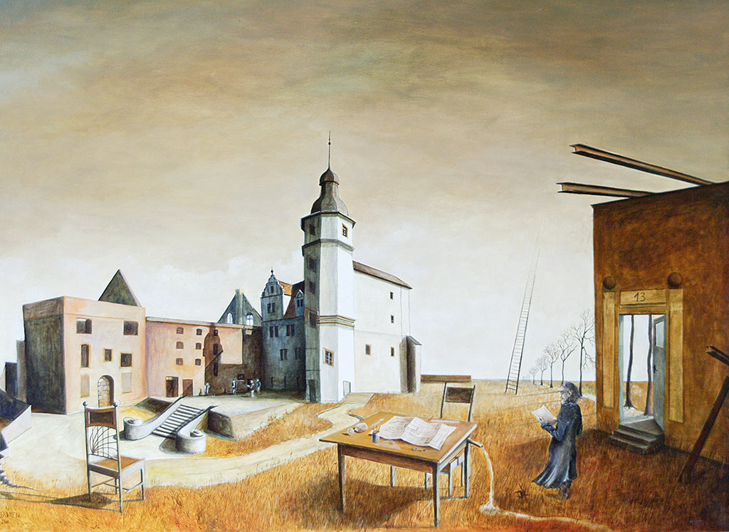 »Himmelsleiter«, Benjamin Kerwien, Öl auf Holz, 75 × 60 cm, 2011