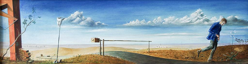 »Wohin nur?«, Benjamin Kerwien, Öl auf Holz, 20 × 75 cm, 2011