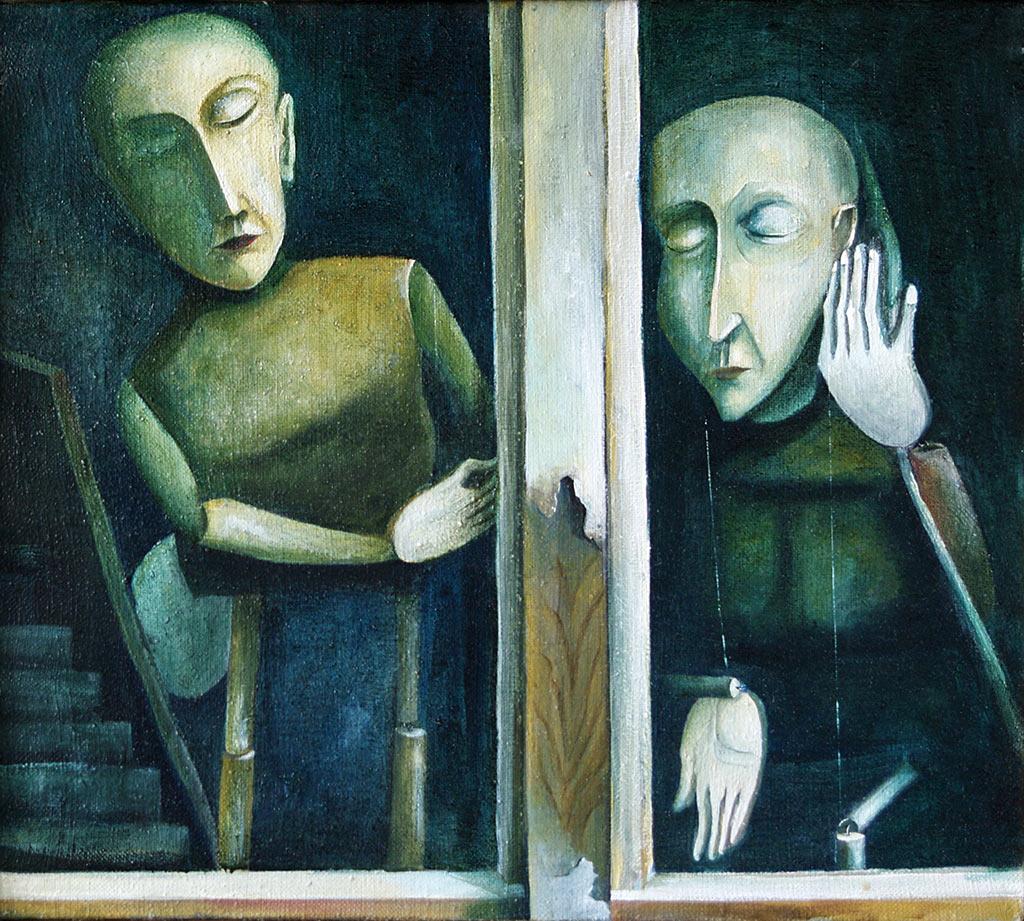 »Marionetten«, Benjamin Kerwien, Öl auf Leinwand, 40 × 36 cm, o. D.