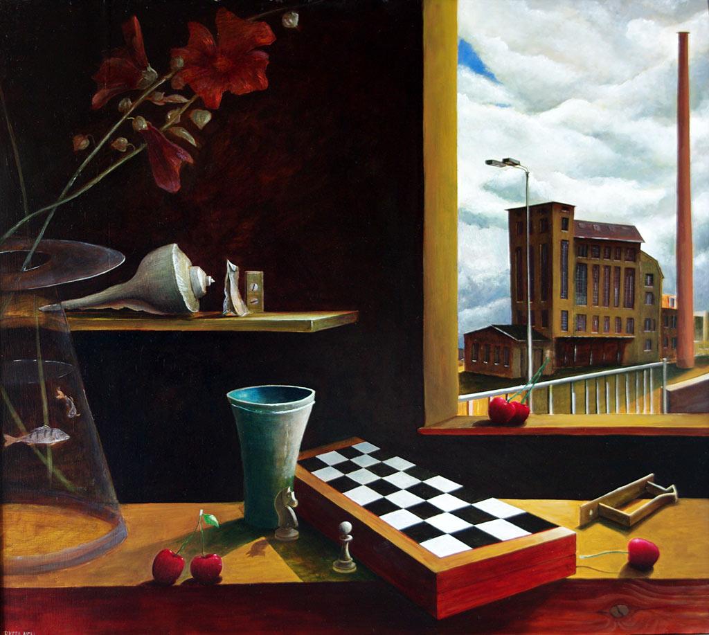 »Schachbrett«, Benjamin Kerwien, Öl auf Holz, 60 × 54 cm, 2011