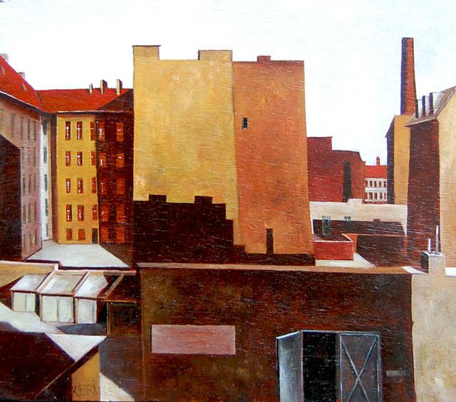 »Berliner Hof«, Benjamin Kerwien, Öl auf Holz, 30 x 30 cm, 2006