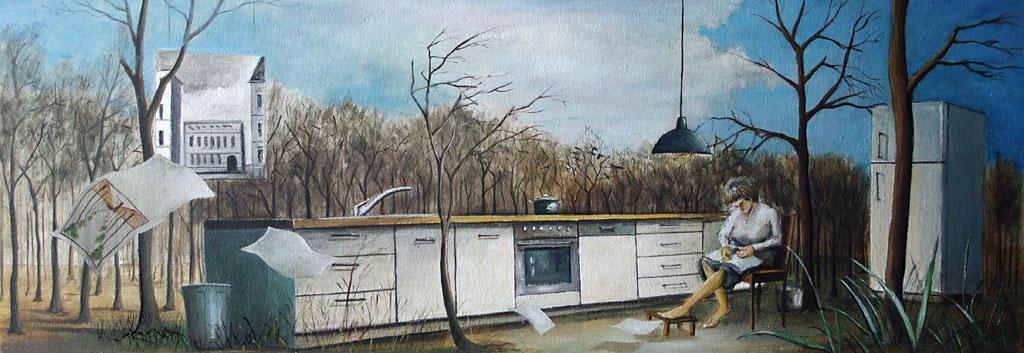 »Die Küche«, Benjamin Kerwien, Öl auf Holz, 14 x 32 cm, 2013