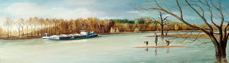 »MS Vorwärts«, Benjamin Kerwien, Öl auf Holz, 35 × 15 cm, 2013