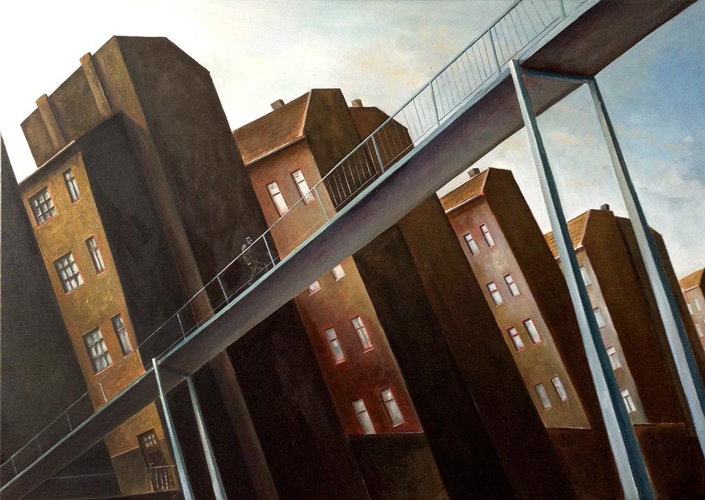 »Stadtbrücke«, Benjamin Kerwien, Öl auf Leinwand, 60 × 50 cm, 2013