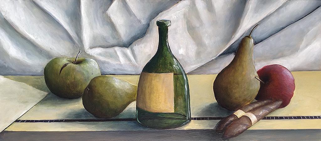 »Stillleben«, Benjamin Kerwien, Öl auf Holz, 40 × 20 cm, 2013