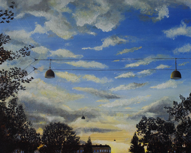 »Abendstimmung«, Benjamin Kerwien, Mischtechnik auf MDF, 20 x 15 cm, 2015