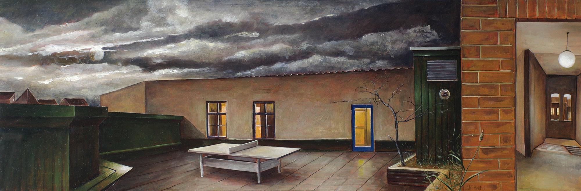 »Abendstimmung«, Benjamin Kerwien, Öl auf Mdf, 60 × 20 cm, 2014