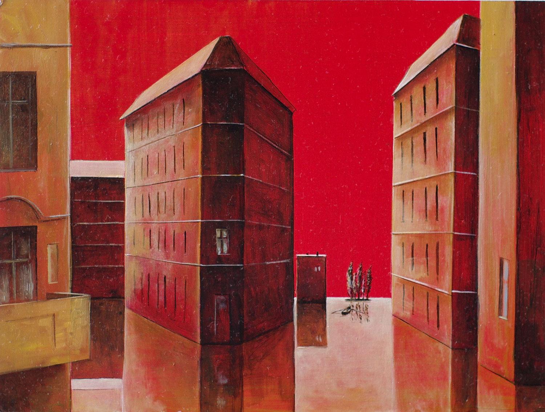 »Rote Landchaft«, Benjamin Kerwien, Mischtechnik auf MDF, 20 x 15 cm, 2015