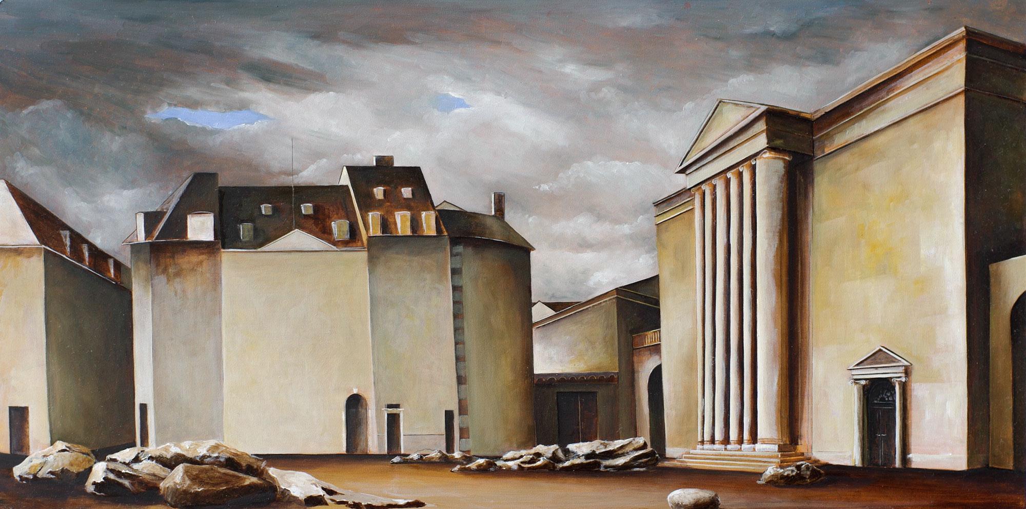 »Steine«, Benjamin Kerwien, Öl auf Holz, 50 × 50, 2015