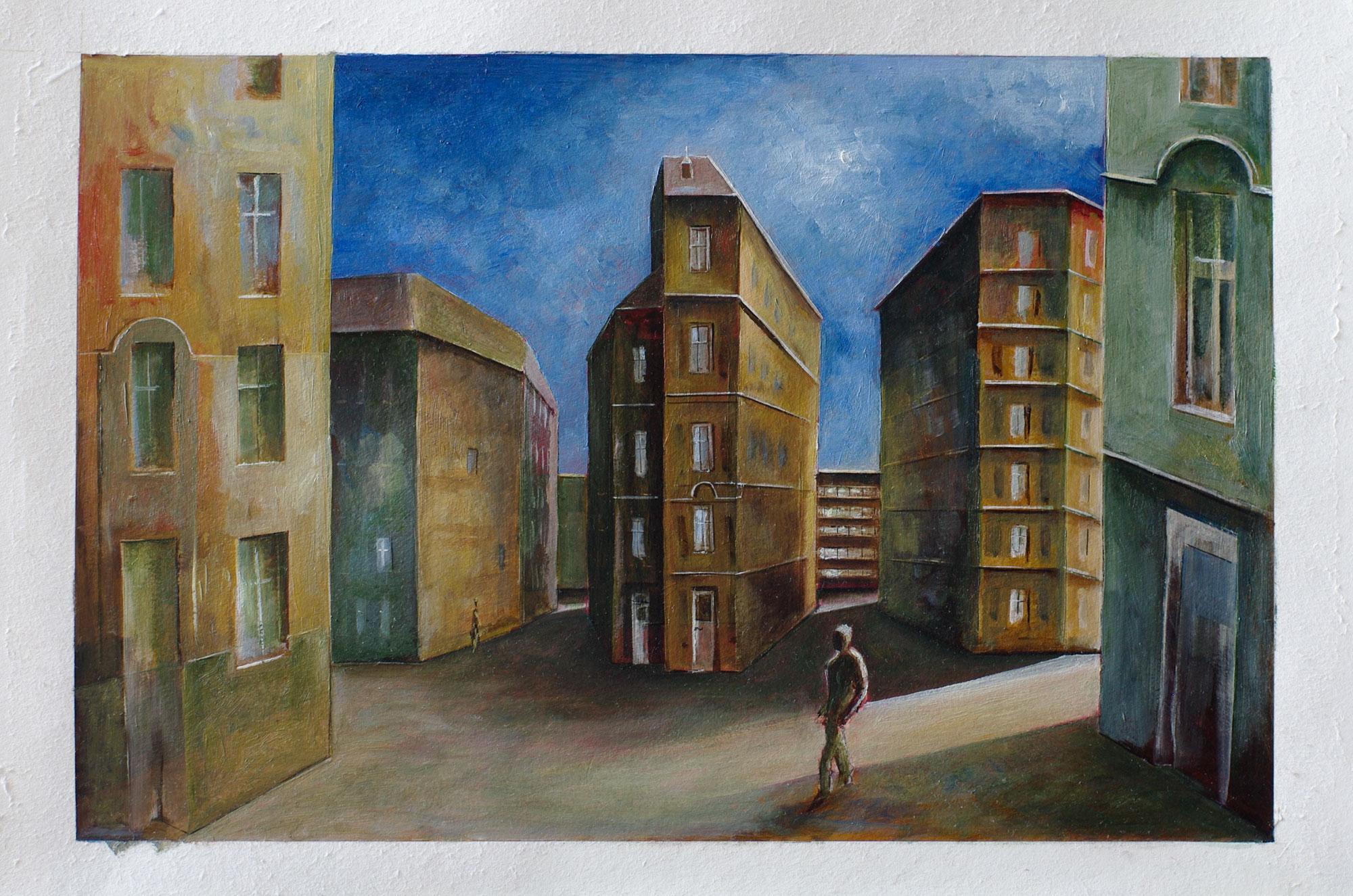 »Stille«, Benjamin Kerwien, Mischtechnik auf Papier, 30 x 20 cm, 2014