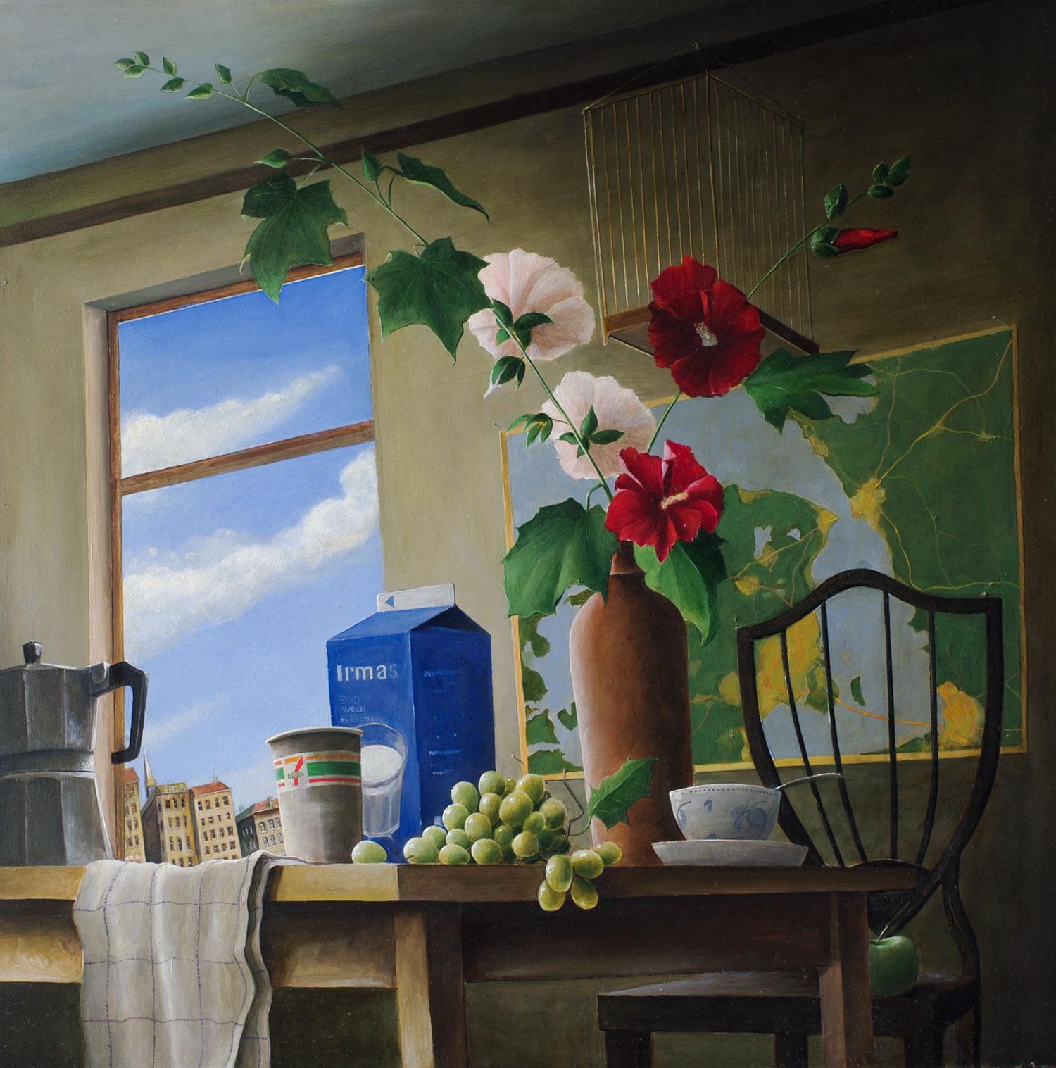 »Stockrosen«, Benjamin Kerwien, Öl auf Holz, 50 × 50 ,2015