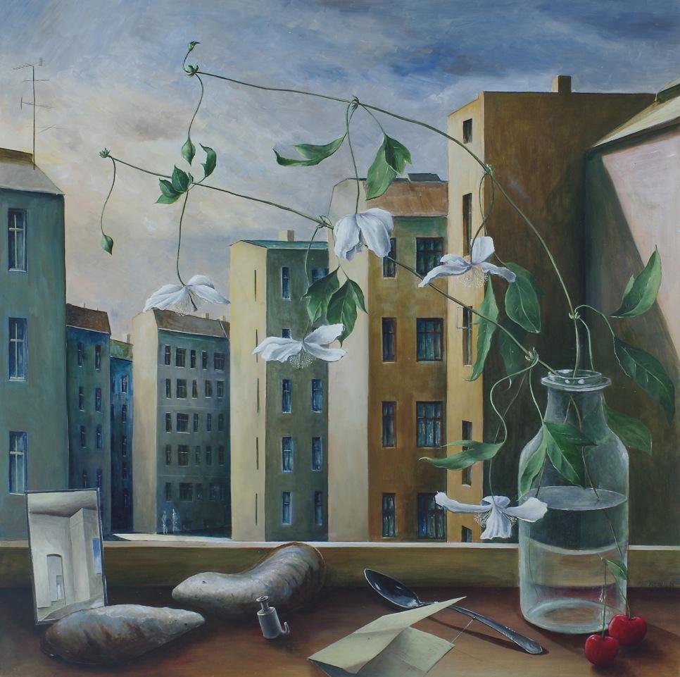 »Atelierblick«, Benjamin Kerwien, Mischtechnik auf MDF, 50 x 50 cm, 2014
