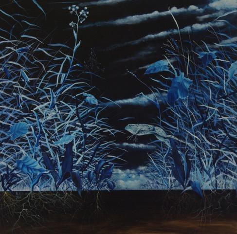 »Der große Sprung«, Benjamin Kerwien, Mischtechnik auf MDF, 50 x 50 cm, 2017